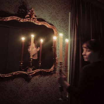 Halloween Art, Haunted Photograph, Outbreak, Dark Art Print, Woman with Candelabra, Brown Tones, Scary Photo