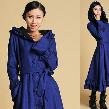 blue wool coat ruffled maxi coat hooded coat long trench coat (380)