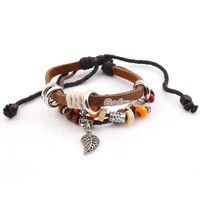 Fashion Adjustable Multicolor Beaded&Leaf&Multilayer Leather String Bracelet at online cheap fashion jewelry store Gofavor
