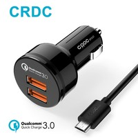 CRDC Quick Charge 3.0 Car Charger dual Ports QC 3.0 USB Car Phone Charger