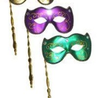 Purple, Green or Gold Lamei Venetian Masquerade Mask on a Stick
