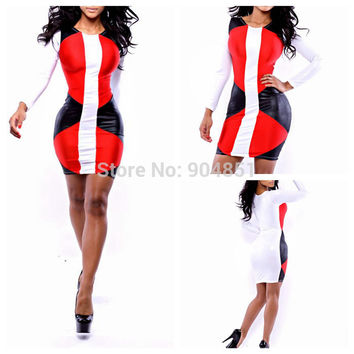Drop Ship New 2014 Sexy Patchwork Dress Womens Celebrity Bandage Bodycon dress, Ladies sexy party club dresses Women Clothing
