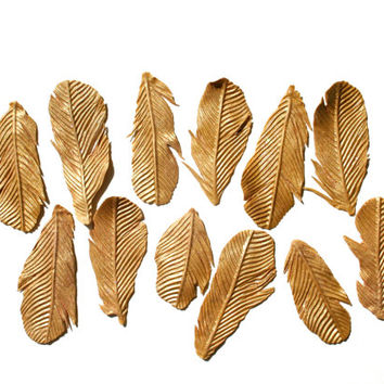 Edible Gold Feathers 1 dozen -Bride's Magazine 2013- Great Gatsby, Roaring 20's, Desert, Gypsy, Tribal edible wedding cake decoration.