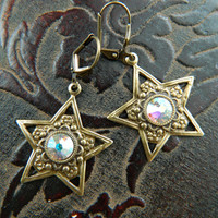 STAR BRIGHT -- aged brass -- AB Swarovski Crystal Earrings by Crow Haven Road