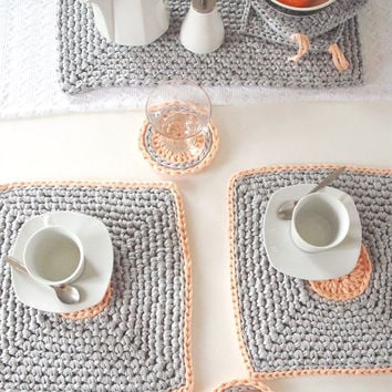 Gray/ Peach Crochet Placemats Set of 2 - Modern Table mats - Pastel Tablewares - Kitchen