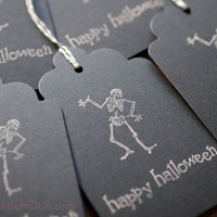 Black Happy Halloween Hang Tags Gift Tags Skeleton 3x5 Set of 6 Hand Stamped Large