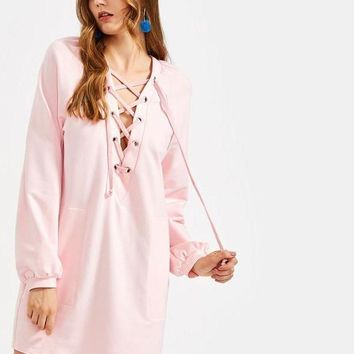 Lace Up Plunge Neck Raglan Sleeve Dress Women Pink Long Sleeve Deep V Neck Sexy T-shirt Dress