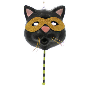 Halloween RETRO MASK HALLOWEEN Paper Mache Wall Hanging 68571 CAT