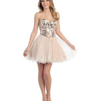 Peach Strapless Short Sweetheart Tulle Dress 2015 Homecoming Dresses