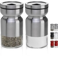 Salt and Pepper Shakers Mill Set By LUD | Salt and Pepper Shakers Comes with Adjustable Dispersal Holes For Freshly Salted Meal