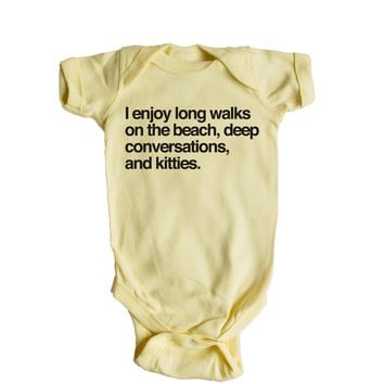 I Enjoy Long Walks On The Beach, Deep Conversations, And Kitties. Baby Onesuit