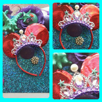 STUNNING One of a KInd Little Mermaid Minnie ear Tiara Headband