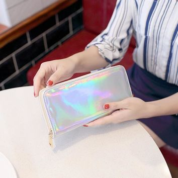 Fashion Holographic Women Long Zipper Wallets