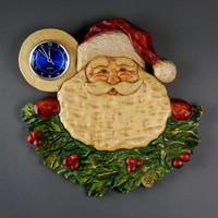 Gift Christmas fact wall clock Father Christmas Sculpture Unique by Davydovart clocks Art holiday handmade carved on wood in Relief