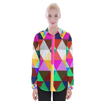 Triangles Pattern Women Long Sleeve Shirt Womens Long Sleeve Shirt