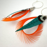 Orange and Beach Green Feather Earrings Tropical Breeze by donaarg
