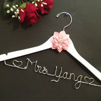 Personalized Bridal Hanger with Hearts, Wedding hanger.Season's Deals Gift surprise for HER or HIM on all orders over 70 dollars
