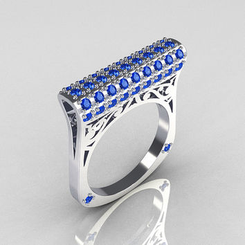 Modern Persian 14K White Gold 0.73 CTW Blue Diamond Designer Ring R103-14KWGBD
