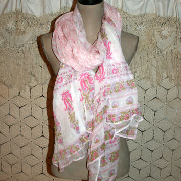 Shabby Chic Pink Floral Scarf Cotton Scarf Beach Sarong India Print Boho Scarf Extra Large Fabric Scarf Oversize Wrap Women Accessories