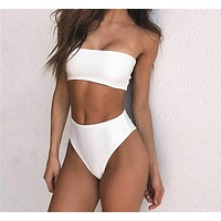 High-Waisted Simple Chic Strapless Bikini