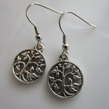 Silver Tone Tree of Life Earring - Tribal Earring - Tree Life jewelry - Silver Tree Earring -  Tree Life earring - Boho Style tree earring