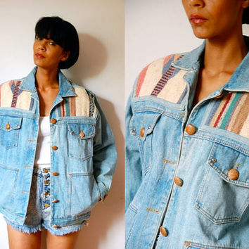 Vtg Tribal Wool Patch Printed Button Down Denim Jacket