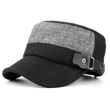 Mens Winter Warm Felt Flat Top Hat