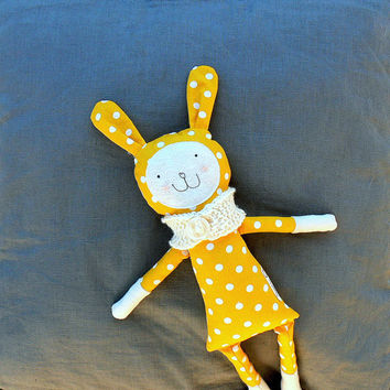 Bunny Soft  Toy Rag Doll - yellow polka dot toy