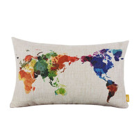 Decorative Throw Pillows World Map Geometric Colorful Cotton Linen Cushion Cover For Sofa Home Decor Pillowcase In Stock