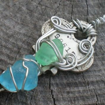 New Jersey Sea Glass Key Necklace by Suebeebuzz on Etsy