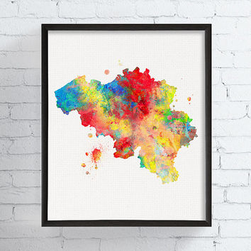 Belgium Map, Belgium Wall Art, Belgium Poster, Watercolor Map Art, Map Art Print, Travel Wall Art, Framed Art, Custom Color, Countries