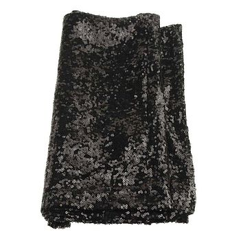 Sparkling Sequins Fabric Table Runner, 14-Inch x 108-Inch, Black