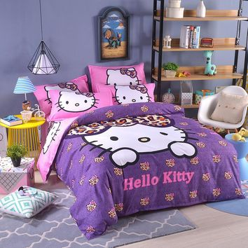 UNIKEA Cartoon Bedding Set for Child Girls Printed Duvet Cover Flat Sheet with Pillowcases Stars kt014