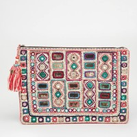 Star Mela Sari Embellished Clutch with Zip Top