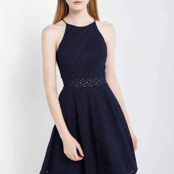 Eyelet Lace Fit and Flare Dress