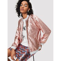 Zip Up Metallic Jacket