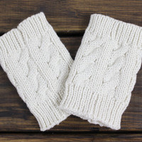 Boot Socks: Knitted Boot Cuffs, Cable Knit Boot Cuffs, Ivory Boot Cuffs, Boot Toppers, Lace Boot Cuffs, Knitted Legwarmers, Lacy Boot Socks