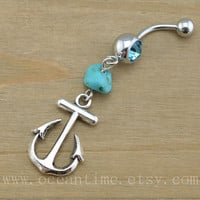 Anchor Belly Button Rings,Anchor Navel Jewelry,belly ring,nature blue turquoise,cute anchor,summer jewelry,body piercing jewelry