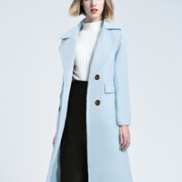 Blue Lapel Double-breasted Wool Longline Coat