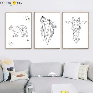 COLORMOON Geometric Deer Bear Wolf Wall Art Print Canvas Painting Nordic Black White Poster Wall Pictures For Living Room Decor