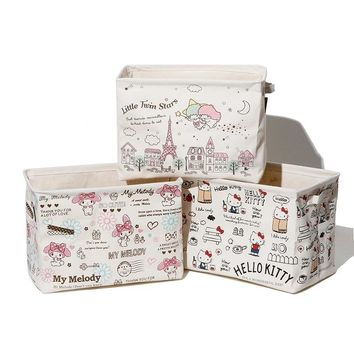 Canvas Cartoon Hello Kitty My Melody Gemini Laundry Basket  Storage Dirty Clothing Bags Home Sundries, Toy Storage Bag B68