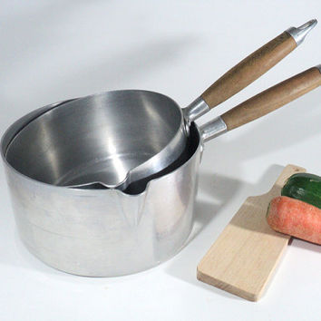 French Alu Pan, Tournus Unis Saucepan, Pure Aluminium Farmhouse Rustic Kitchen
