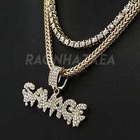 Hip Hop Iced Out SAVAGE Pendant W/ Franco Chain / Tennis Choker Chain