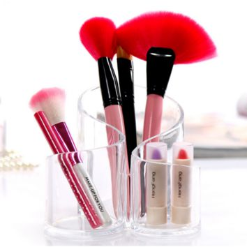 Acrylic Clear 3 Berrels Brushes Holder Makeup Cosmetic Pen Organizer Stand Box