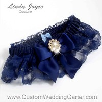 "Navy Blue and Navy Blue Lace Wedding Garter ""Penny 10"" Gold"