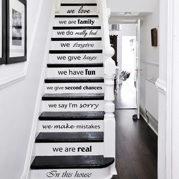 Wall Decal Quote In this house we are real... STAIR CASE Stairway Decals Vinyl Sticker Wall Decor Home Interior Art Decor Staircase KV34