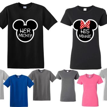 Mickey Minnie His Her Couple Matching Love Set Men Women T-shirt