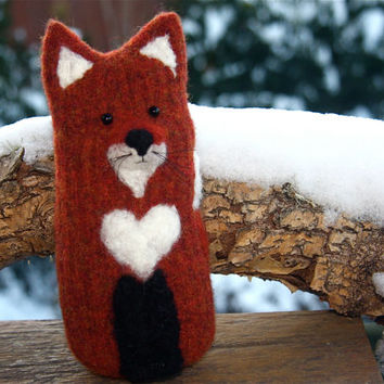 Red Fox with heart... upcycled fox needle felt wool eco-friendly valentine (woolcrazy)