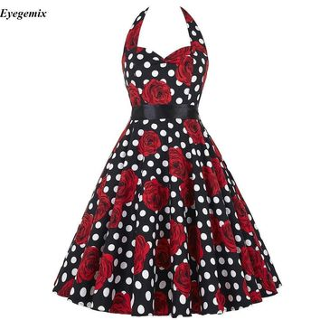 Vintage Rockabilly Dresses Women 50s 60s Party Floral Print Summer Dress Pinup Swing Audrey Hepburn Dress 2018 Vestido Femininos