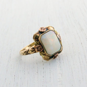 Antique 10K Rose & Yellow Gold Opal Ring - Art Deco 1920s 1930s Jewelry Signed Copley / Floral and Leaf Accents